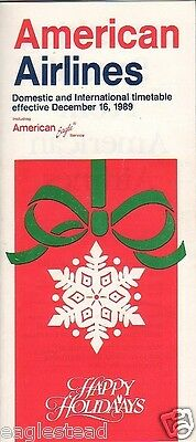 Airline Timetable - American - 16/12/89 - Christmas