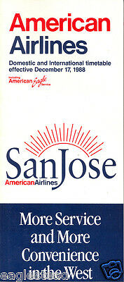 Airline Timetable - American - 17/12/88