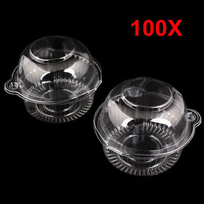 Wholesale 100X Clear Plastic Single Cupcake Muffin Case Pod Domes Cup Cake Boxes