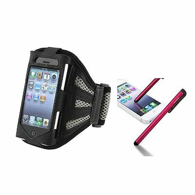 Silver Armband Leather Case+Red Touch Screen Stylus For iPod Touch 4 4G 4th