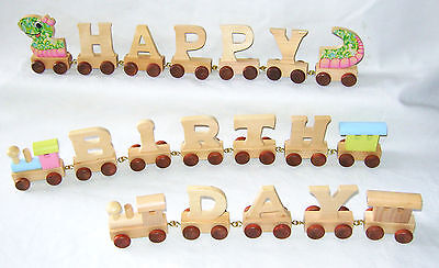 New Personalised Natural Wooden Letters Train Name Toy Gift Stock Legler