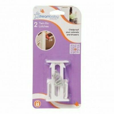 Dreambaby Twin Pin Latch Cabinet Drawer Door Child Baby Safety Lock 2pk - L112