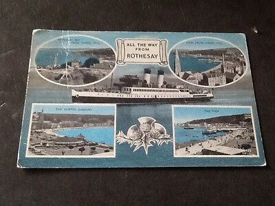 Old Postcard Rothesay (wear / Creases)