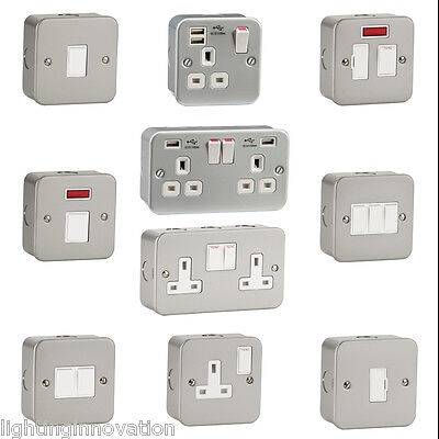 Metal Clad Electrical Sockets Switches With Back Box Garage Workshop Garden Shed