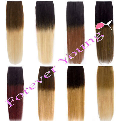 Clip In Remy 100% Human Hair Extensions Real Ombre Dip Dye Root Smudge Head UK