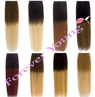 Hair Extensions Real Thick Half Head Clip In Long Root Smudge Ombre Dip Dye UK