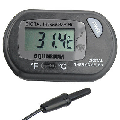 Digital LCD Thermomètre Aquarium Poisson Vivarium Eau Marine Batonnet Sur Sonde