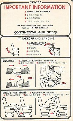 Safety Card - Continental - B727 200 - 1979 (S2094)