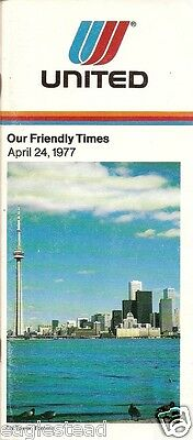 Airline Timetable - United - 24/04/77 - CN Tower Toronto Cover