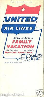 Airline Timetable - United - 06/06/58