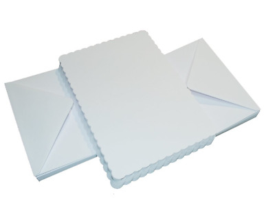 "50 x 5""x7"" WHITE SCALLOPED BLANK CARDS 300gsm & ENVELOPES CARD MAKING CRAFT 835"