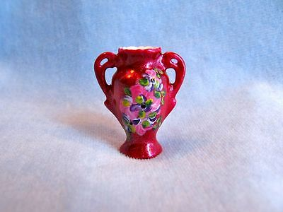 dollhouse doll house miniature PORCELAIN VASE  HAND PAINTED WINE