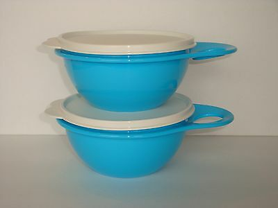 Two Tupperware Thatsa Bowls 2-1/2 Cups ~ Mixing Serving & Storage Blue New