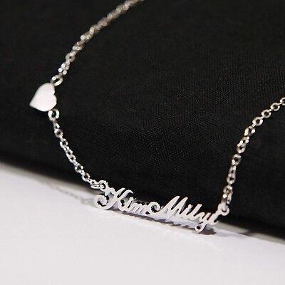 New Any Personalized Jewelry Mini Name Initial Necklace with Cute Heart Gifts
