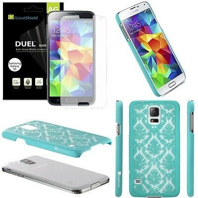 Teal Damask Armor Case Cover & 3x Matte Screen Protector for Samsung Galaxy S5