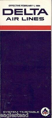 Airline Timetable - Delta - 01/02/84