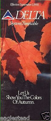 Airline Timetable - Delta - 01/09/90 - Autumn Leaves