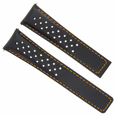 20/16Mm Leather Watch Band Strap For Tag Heuer Monza Watch Perforated Black Os