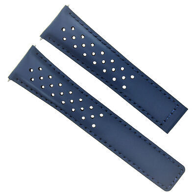 Leather Band Strap Clasp 20/16Mm For Tag Heuer Monza Fc5013 Blue Perforated