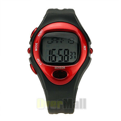 Red Sport Watch Digital Pulse Heart Rate Monitor Calorie Burn Counter Running