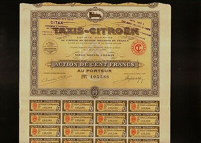 TAXIS CITROEN SA Paris France 1924 sign Andre C. AUTOMOBILE CAR MAKERS DS 2CV