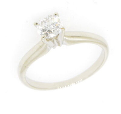 14k White Gold 3/8 Ct Round Four Prong Solitaire Diamond Engagement Ring