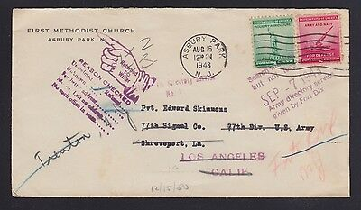USA 1943 WWII RETURN TO SENDER ARMY DIRECTORY COVER TO 77TH SIGNALS LOUISIANA