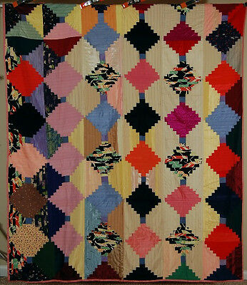 Light & Dark Log Cabin Antique Quilt ~GREAT VINTAGE FABRICS & FESTIVE COLORS!