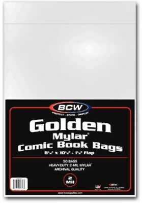 100 BCW Golden Age Comic Book Mylar Bags 2 Mil - 8x10.5 Acid Free Mylars