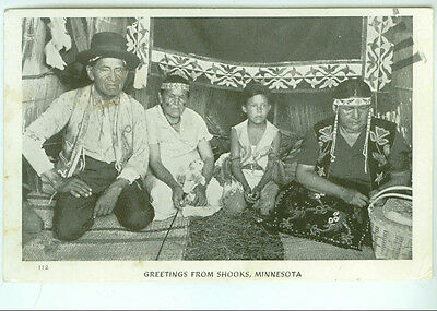 GREETINGS FROM SHOOKS, MINNESOTA real photo INDIAN FAMILY 1947
