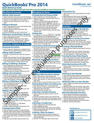 QuickBooks Pro 2014 Training Guide Quick Reference Card 4 Page Cheat Sheet