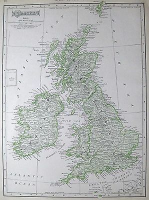 1911 Antique UNITED KINGDOM Map BRITISH ISLES Map Ireland Map England Map