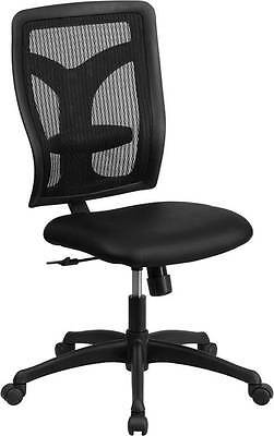 High Back Designer Back Task Chair With Padded Leather Seat