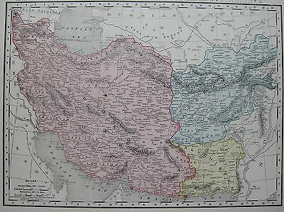 1901 Antique Map of PERSIA & AFGHANISTAN Vintage Collectible Map IRAN 1900s Map