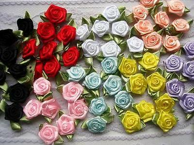 """70 Satin Ribbon Rose 1"""" Flower Leaves/trim/craft/sewing/dress/Bow F28-Pick Color"""