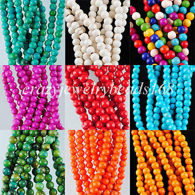 """Howlite Turquoise Gem 4mm(Approx 95PCS) Round Spacer Beads 15 1/2 """" BG135"""
