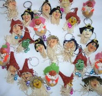 10 pc Assort Halloween Witches Ornament Keychain Holiday Trick or Treat Favor ��