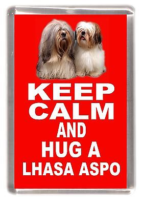"Lhasa Apso Dog Fridge Magnet ""KEEP CALM AND HUG A LHASA APSO"" by Starprint"