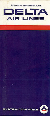 Airline Timetable - Delta - 08/09/82
