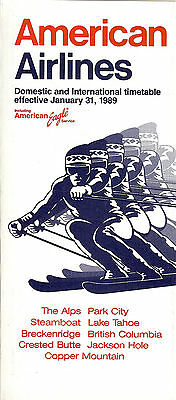 Airline Timetable - American - 31/01/89