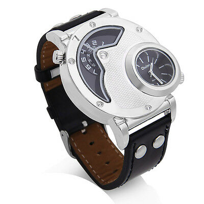 OULM Russian Army Military Dual Time Dial Leather Band Mens Quartz Wrist Watch