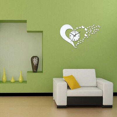 New Home Modern Design Novelty Mirror Wall Clock Decoration Mirror With Hearts