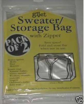 12 x 2 PACKS SWEATER STORAGE BAGS WITH ZIPPER -BULK LOT