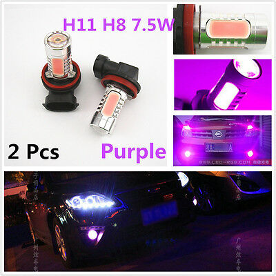 2 Pcs Purple Pink H8 H11 H9 7.5W LED Lens Headlight Driving DRL Fog Lights Bulbs