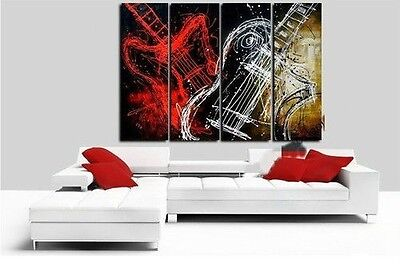 New !!! Modern Abstract Huge Wall Art Oil Painting On Canvas 4pc (No Frame)