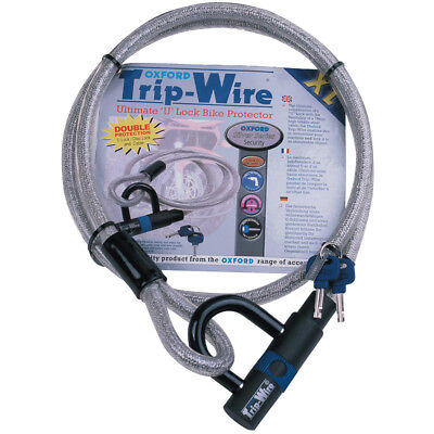Oxford Trip Wire Bicycle Bike Cycle Coil Cable & Integral D U Lock Padlock 1.6m