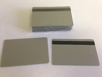25 Silver CR80 PVC Cards - HiCo MagStripe 2 Track - CR80 .30 Mil for ID Printers