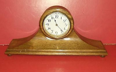Antique New Haven Newhaven mantel clock wood case 8 day time only . Working
