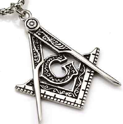 30x40MM Stainless Steel Masonic Compass Square Pendant Necklace Retro Vintage