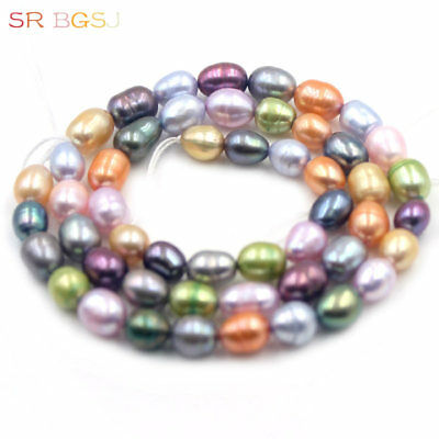 """Jewelry Making Beads 5-6mm Olivary Rice Freshwater Culuted Pearl Strand 15"""""""